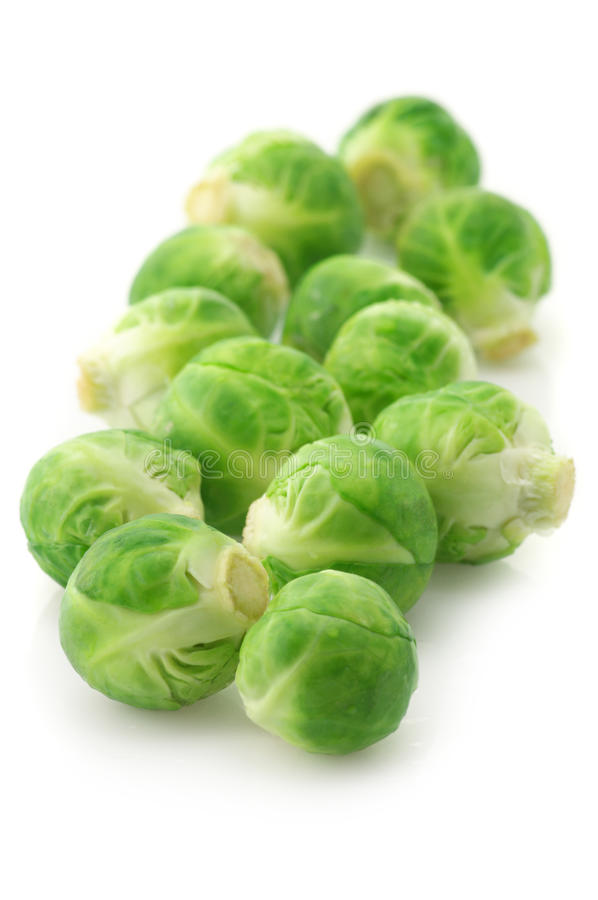 Brussel sprouts. Fresh brussel sprouts isolated on white background stock photo