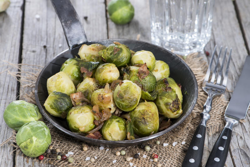 Brussel Sprouts with Ham stock photo