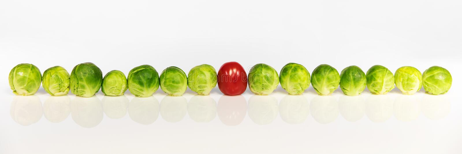 Brussel sprouts and tomato stock photos