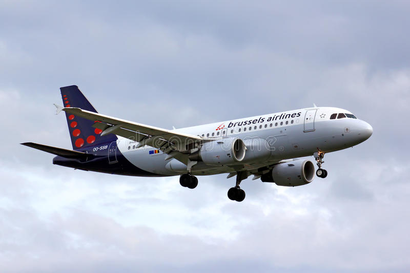 Brussels Airlines Airbus A319. BERLIN, GERMANY - AUGUST 17, 2014: Brussels Airlines Airbus A319 arrives to the Tegel International Airport stock photo