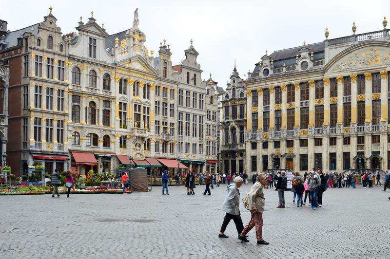 Grand Place, landmark of Belgium located at central square of Brussels City. Brussels, Belgium - April 2015: Grand Place, most memorable landmark of Belgium royalty free stock photos