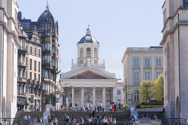 Place Royale Bruxelles, Place Royale de Bruxelles, Saint Jacques-sur-Coudenberg, Eglise Saint-Jacques-sur-Coudenberg with the sta. Brussels, Belgium, April 2018 royalty free stock images