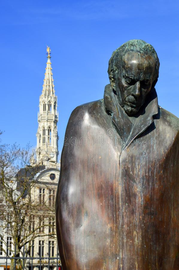 Statue of Hungarian composer and pianist Bela Bartok at Place d`Espagne Spanish Square near Grand Place in Brussels, Belgium royalty free stock images