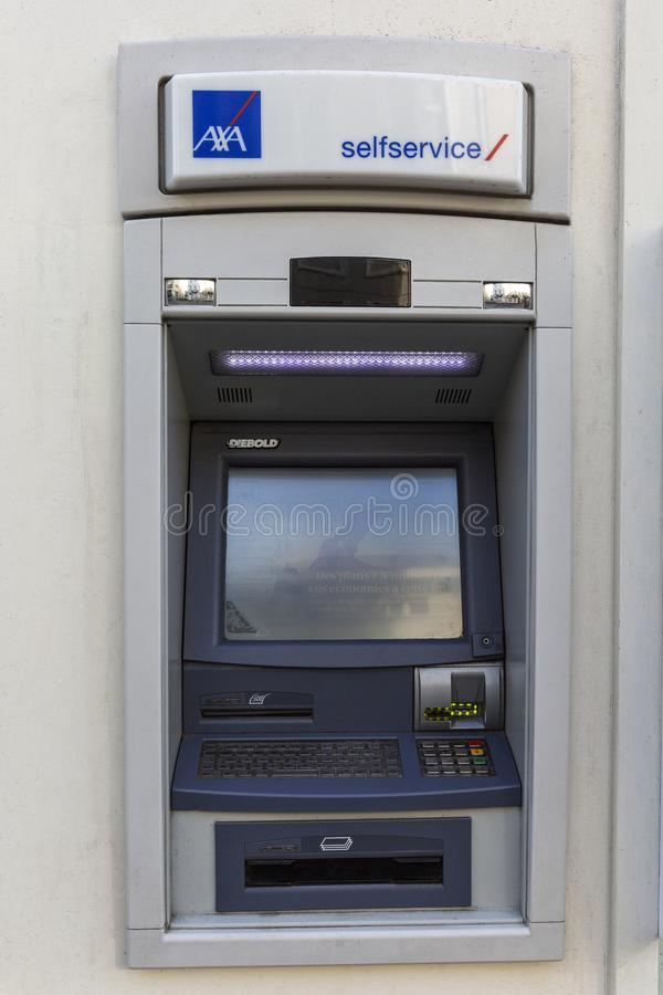 Brussels, Belgium, 10/13/2019: ATM in the wall of a building in a European city. Close-up stock photo