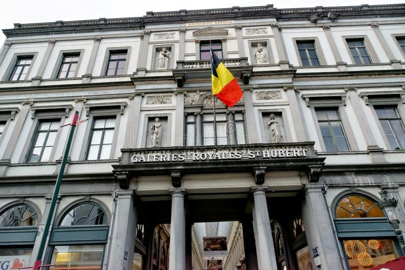 The Royal Galery of St Hubert in downtown of Brussels, Belgium stock images