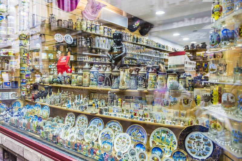 Souvenir store in Brussels, Belgium royalty free stock photography