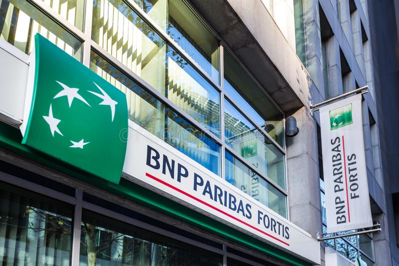 Brussels, brussels/belgium - 12 12 18: bnp paribas fortis bank sign in brussels belgium. Brussels, brussels/belgium - 12 12 18: an bnp paribas fortis bank sign royalty free stock photography