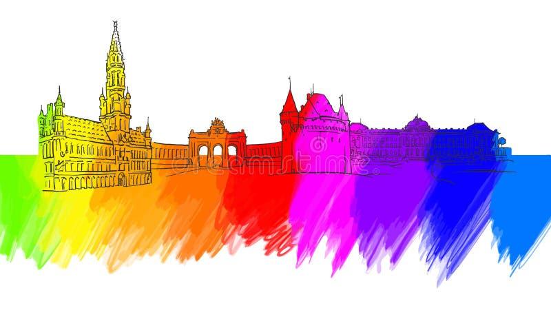 Brussels Belgium Colorful Landmark Banner royalty free illustration