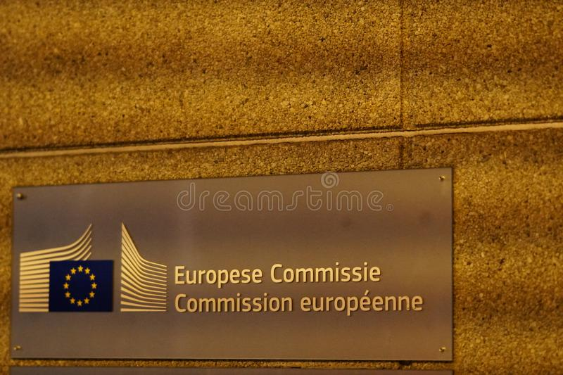 Europese Commissie plaque. Brussels, Belgium - December 8, 2017: Europese Commissie plaque. The European Commission EC is an institution of the European Union royalty free stock images