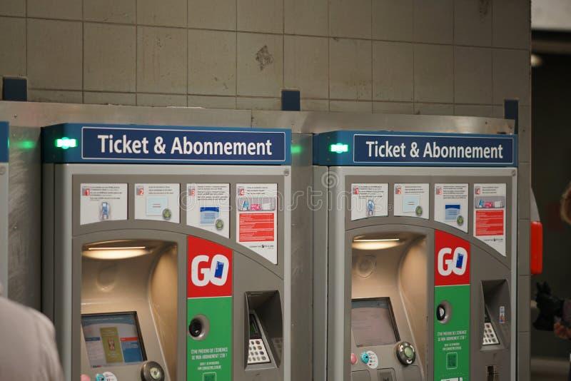 Tickets machine of STIB-MIVB company royalty free stock photography