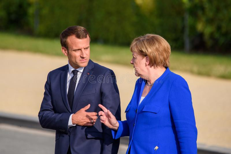 Emmanuel Macron, President of France and Angela Merkel, Chancellor of Germany. 11.07.2018. BRUSSELS, BELGIUM. Emmanuel Macron, President of France and Angela stock photo