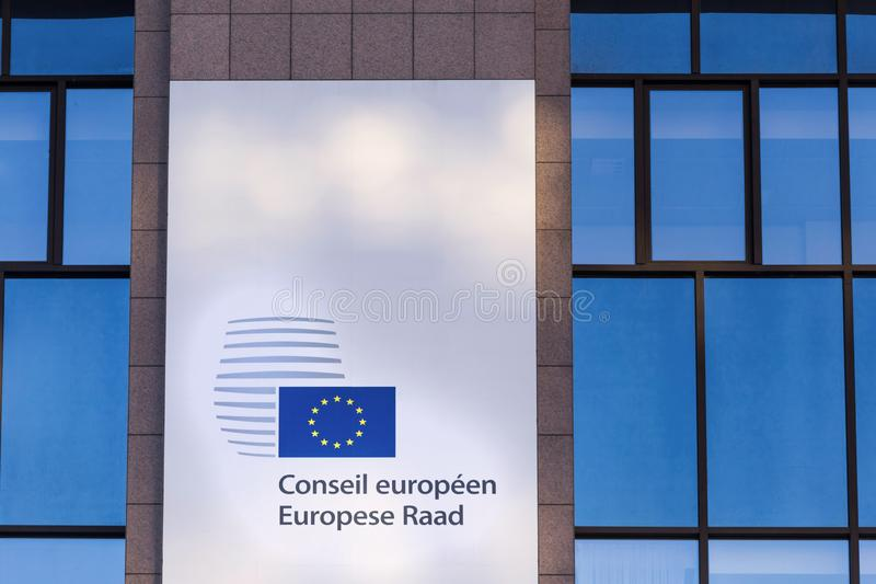 European union consilium sign in brussels belgium stock photography