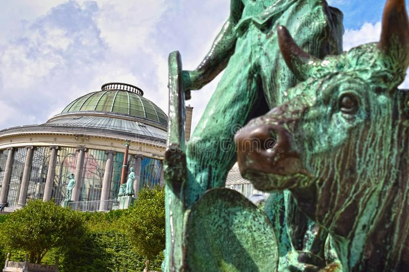 Botanical garden in Brussels, Belgium. BRUSSELS, BELGIUM - JANUARY 3, 2016: Botanical Garden with its old sculptures and rotunda is open to the public year round royalty free stock photos