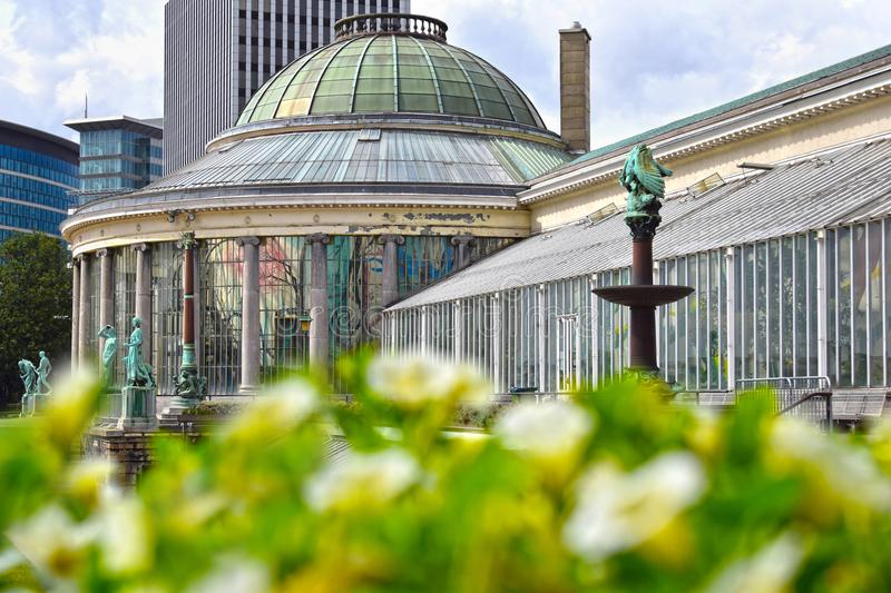 Botanical garden in Brussels, Belgium. BRUSSELS, BELGIUM - JANUARY 3, 2016: Botanical Garden with its old sculptures and rotunda is open to the public year round stock images