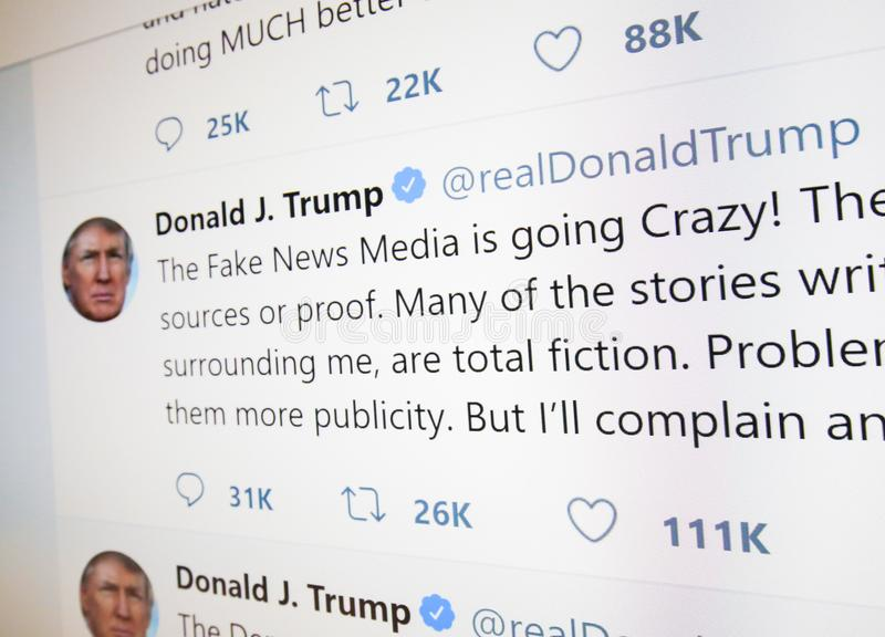 Tweet on the Fake News Media by Donald J. Trump. Brussels, Belgium - July 21, 2018: The official twitter page of Donald J. Trump, 45th President of the USA stock images