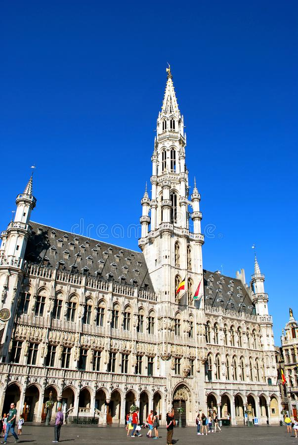 The Town Hall on the Grand Place in Brussels royalty free stock images