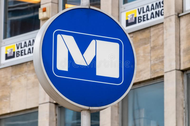Metro station icon with official logo of Brussels metro. Brussels, Belgium - June 6, 2019: Metro station icon with official logo of Brussels metro royalty free stock photos