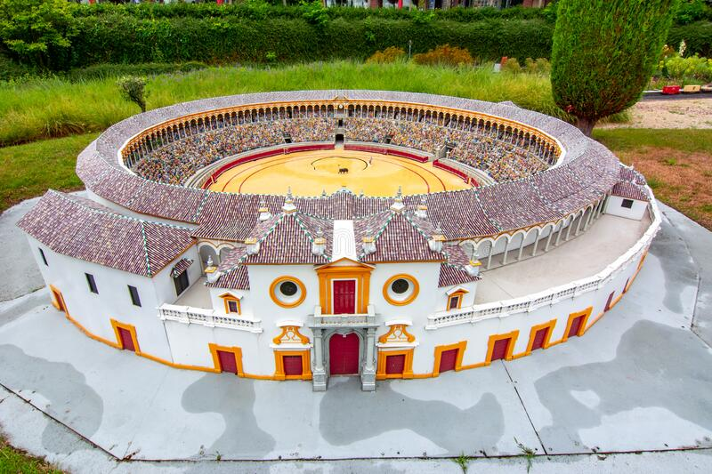 Brussels, Belgium - June 2019: Seville arena in mini Europe park royalty free stock photo