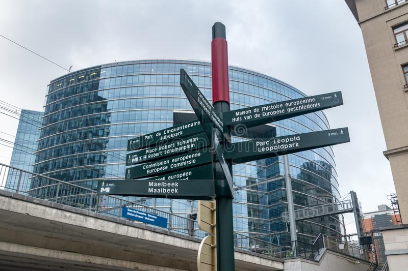 Street Direction Signs, show direction to places in Brussels. Brussels, Belgium - June 5, 2019: Street Direction Signs, show direction to places in Brussels royalty free stock photography