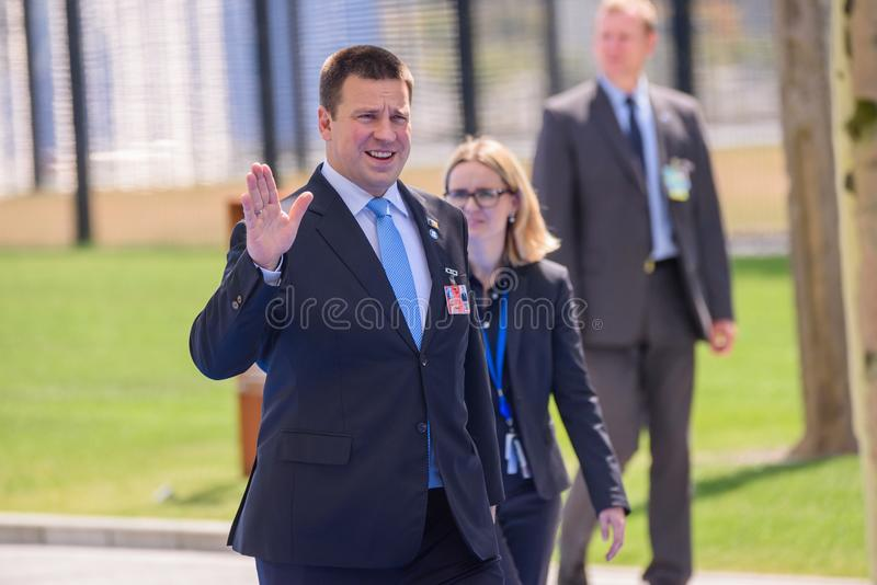 Juri Ratas, Prime Minister of Estonia. 11.07.2018. BRUSSELS, BELGIUM. Juri Ratas, Prime Minister of Estonia, during Heads of Government arriving at NATO SUMMIT royalty free stock image