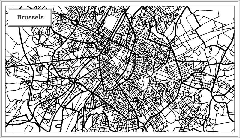 download brussels belgium map in black and white color stock vector illustration of illustration