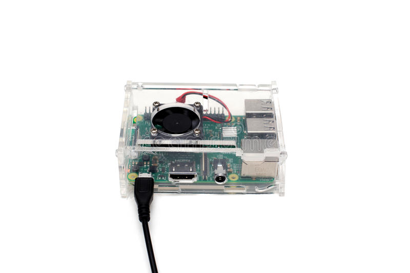 Brussels, Belgium - March 18, 2017 : illustrative editorial image showing Raspberry Pi 3 single-board computer. stock photography