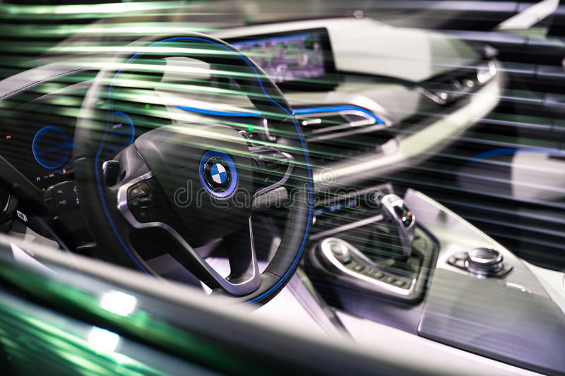 BRUSSELS, BELGIUM - MARCH 25, 2015: Interior view of BMW i8, the newest generation plug-in hybrid sports car developed by BMW. stock image