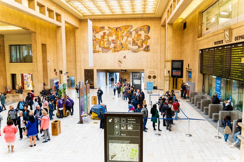 Brussels, Belgium, May 2019 Brussels Central, people arriving and departing from train station royalty free stock photos