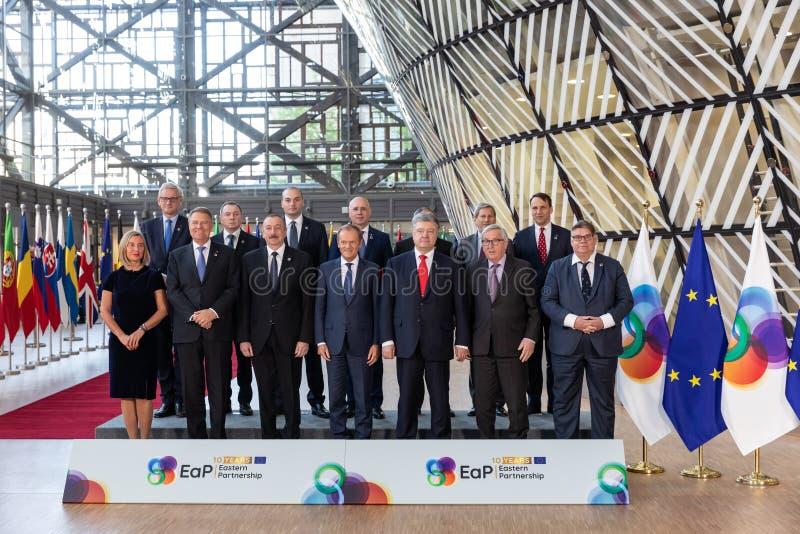 Meeting of EU leaders at the EU headquarters. BRUSSELS, BELGIUM - May 14, 2019: Eap Eastern Partnership. Meeting of EU leaders at the EU headquarters. High Level royalty free stock image