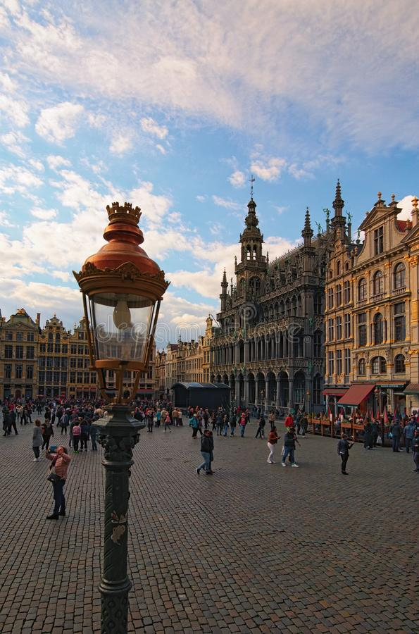 The Grand Square Grand Place, Grote Markt is the central square of Brussels. stock photography