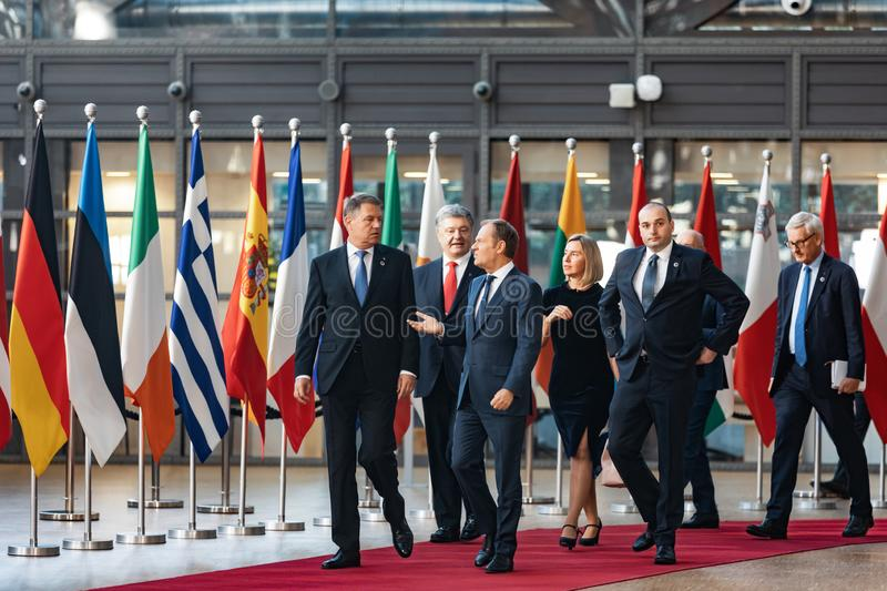 Meeting of EU leaders at the EU headquarters. BRUSSELS, BELGIUM - May 13, 2019: Meeting of EU leaders at the EU headquarters. High Level Conference for Eastern stock images