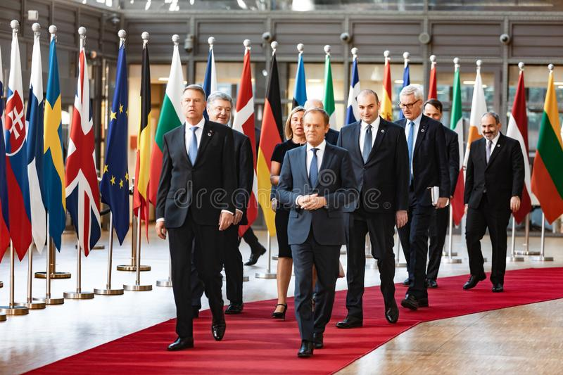Meeting of EU leaders at the EU headquarters. BRUSSELS, BELGIUM - May 13, 2019: Meeting of EU leaders at the EU headquarters. High Level Conference for Eastern royalty free stock photography