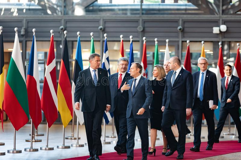 Meeting of EU leaders at the EU headquarters. BRUSSELS, BELGIUM - May 13, 2019: Meeting of EU leaders at the EU headquarters. High Level Conference for Eastern royalty free stock image