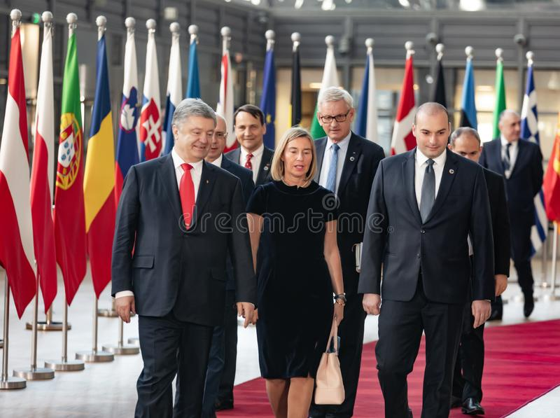 Meeting of EU leaders at the EU headquarters. BRUSSELS, BELGIUM - May 13, 2019: Meeting of EU leaders at the EU headquarters. High Level Conference for Eastern stock image