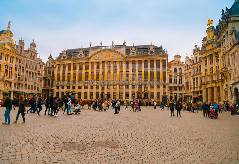 Brussels, Belgium, May, 31, 2018: Outdoor view of the Grand Place in a beautiful summer day in Brussels royalty free stock image