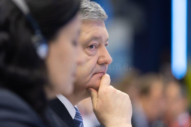 Meeting of EU leaders at the EU headquarters. BRUSSELS, BELGIUM - May 14, 2019: Presiden of Ukraine Petro Poroshenko. Eap Eastern Partnership. Meeting of EU stock photos