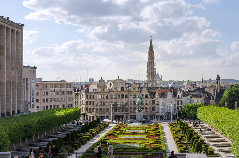 Brussels, Belgium - May 12, 2015: Tourist visit Kunstberg or Mont des Arts (Mount of the arts) gardens in Brussels stock photo