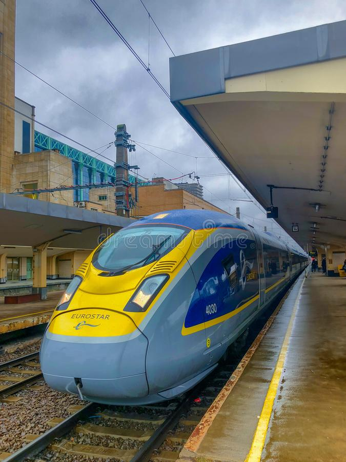 Brussels, Belgium - October 30, 2018: The E320 Eurostar International High Speed passengers Train in the Brussels North railway stock photo
