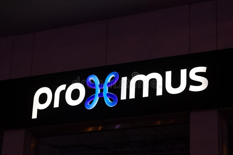 Brussels, brussels/belgium - 13 12 18: proximus sign in brussels belgium. Brussels, brussels/belgium - 13 12 18: an proximus sign in brussels belgium stock photos