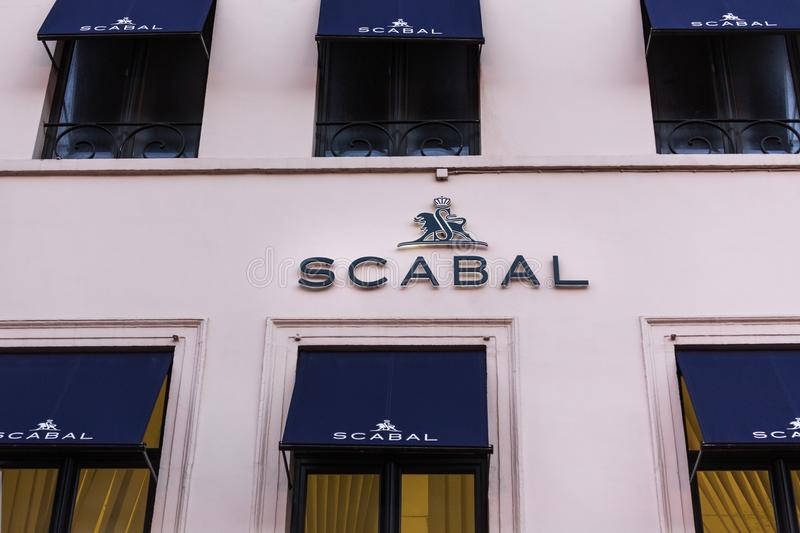 Brussels, brussels/belgium - 13 12 18: scabal store sign in brussels belgium. Brussels, brussels/belgium - 13 12 18: an scabal store sign in brussels belgium stock photos