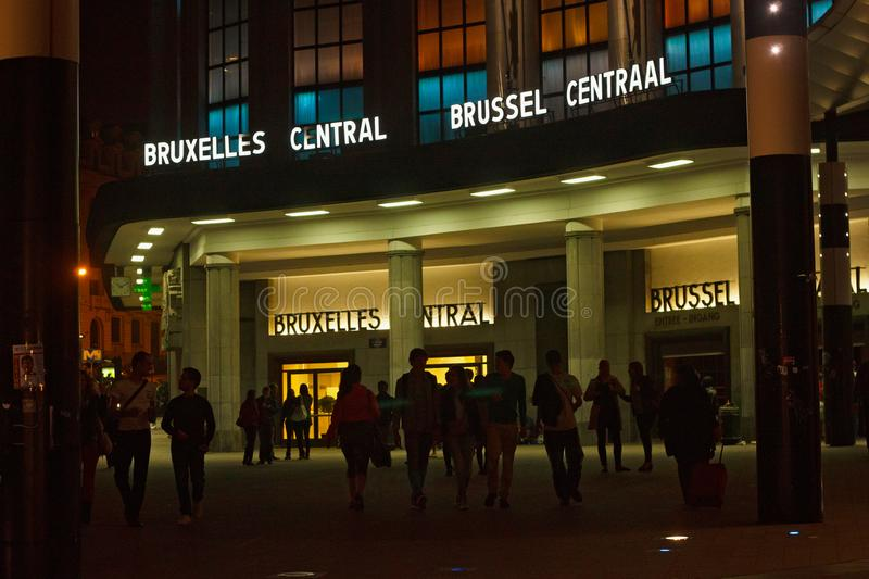 BRUSSELS, BELGIUM - SEPTEMBER 06, 2014: Night view of the Central Railway Station of Brussels stock photo