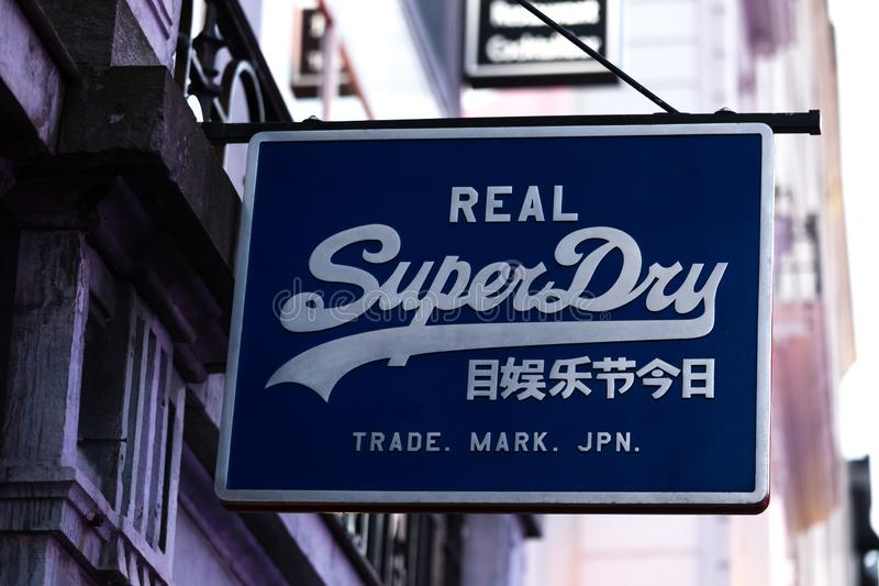Brussels, brussels/belgium - 13 12 18: superdry sign in brussels belgium. Brussels, brussels/belgium - 13 12 18: an superdry sign in brussels belgium royalty free stock photos