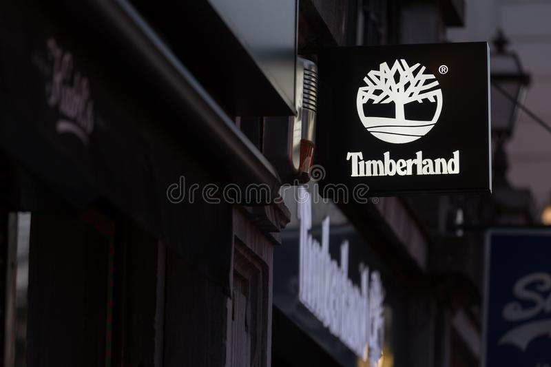Brussels, brussels/belgium - 13 12 18: timberland sign in brussels belgium. Brussels, brussels/belgium - 13 12 18: an timberland sign in brussels belgium royalty free stock photo