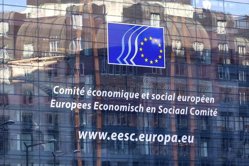 Social committee of the european union sign in brussels belgium royalty free stock images