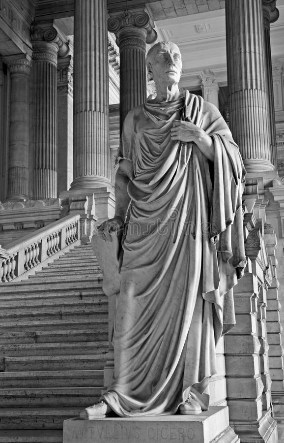 Brussels - Cicero statue from Justice palace. BRUSSELS - JUNE 22: Cicero statue from vestiubule of Justice palace on June 22. 2012 in Brussels stock image
