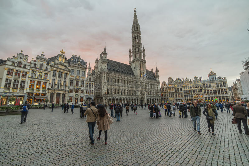 Brussels city central square Grand Place, part of UNESCO world heritage royalty free stock images