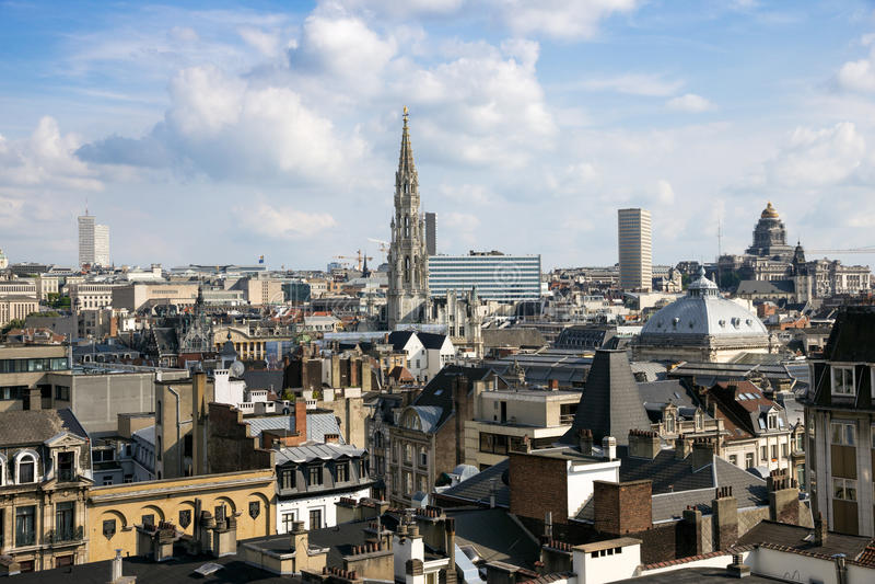 Brussels city view Belgium stock photos
