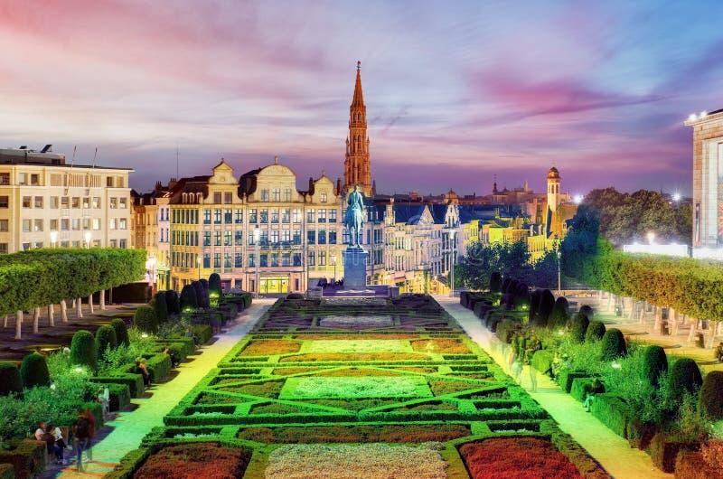 Brussels cityscape at night, Belgium panorama skyline royalty free stock photo