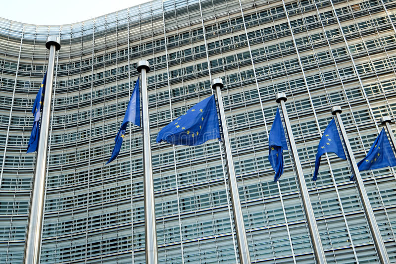 brussels european flags arkivbild