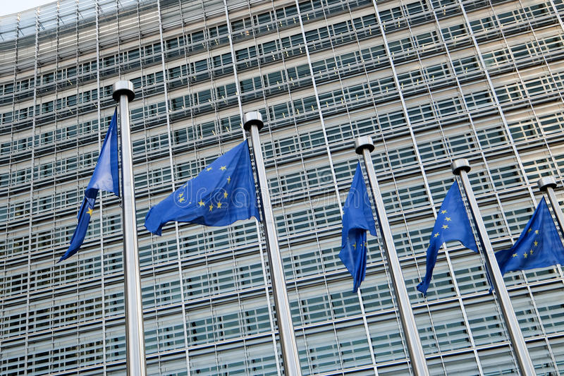 brussels european flags arkivbilder